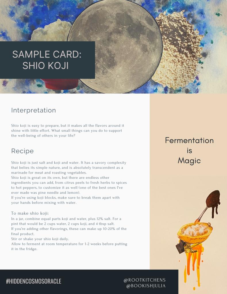 sample card for hidden cosmos oracle deck recipe shio koji lemon lobster vinegar